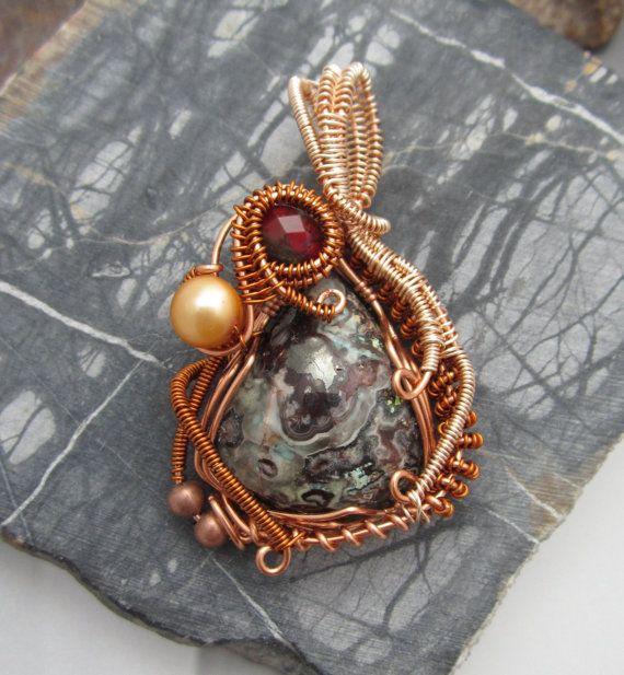 Stone Pendant Copper Wire Wrap Jewelry Artisan Jewelry