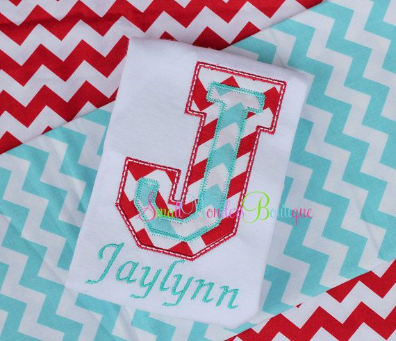Initial Embroidered Shirt or Onesie - Chevron Shirt - Chevron Initial- Applique Shirt or Onesie - Circus - Birthday via Etsy