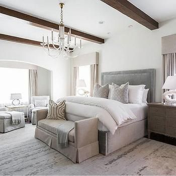 Dove Gray Bed with Beige Settee at Foot of Bed