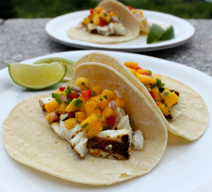 Domesticate Me!: Grilled Halibut Tacos with Peach Salsa #peaches #SummerFest