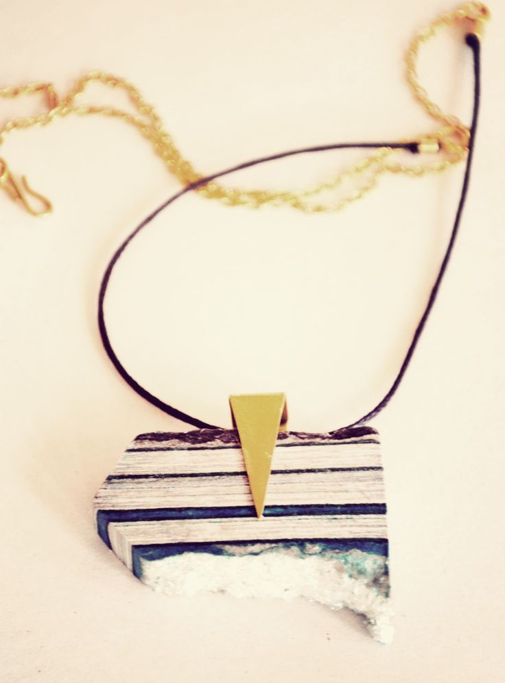 One of a Kind pendant from waste magazine paper, crushed glass and brass. www.quazidesign.com