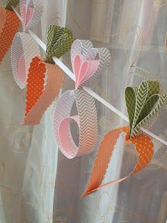 Bunny and Carrot Garland made of Stampin' Up! Paper / Easter Banner Spring Garden Rabbit Baby Shower: