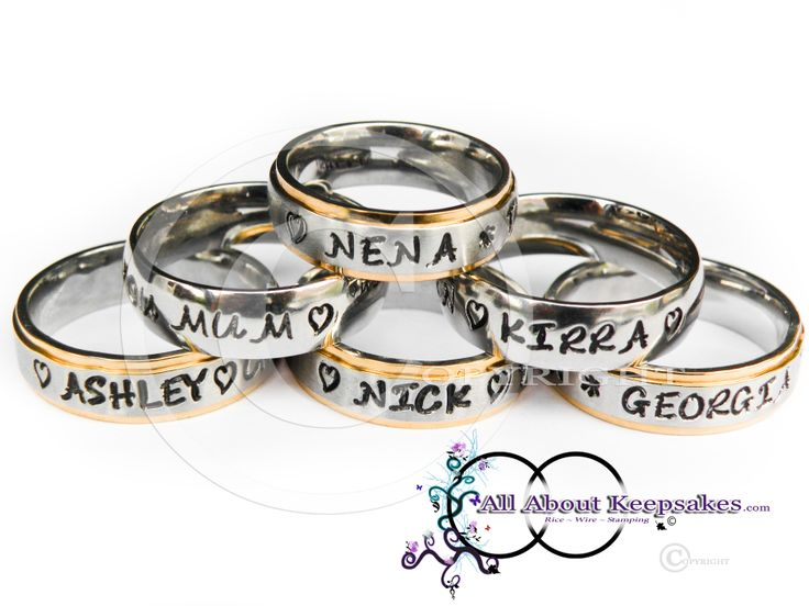 Hand Stamped Stainless Steel Keepsake Rings, with family names.  allaboutkeepsakes.com