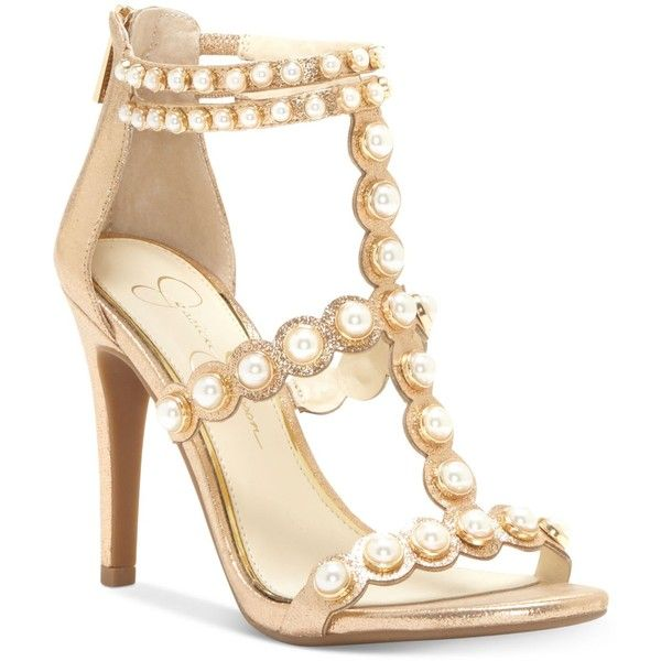 Jessica Simpson Eleia Pearl-Studded Dress Sandals ($110) ❤ liked on Polyvore featuring shoes, sandals, karat gold, ankle strap sandals, strappy shoes, studded t-strap sandal, strap sandals and strap shoes