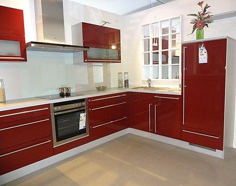 Nobilia L Küche in uni bordeaux rot - Modell Uno