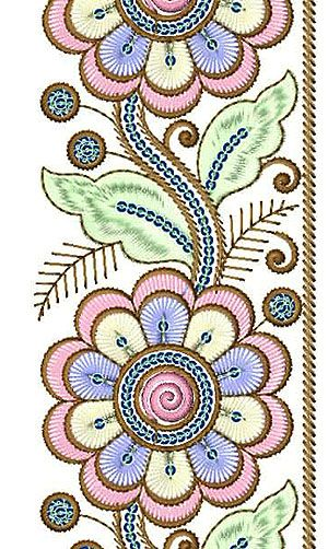 Colorful Pink Silk Embroidery Lace Design