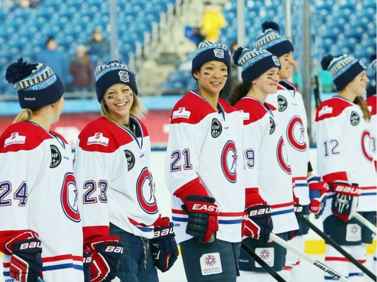 Les Canadiennes (CWHL) are introduced prior to playing against the Boston Pride (NWHL) in the Outdoor Womens Classic at Gillette Stadium on December 31, 2015 in Foxboro, Massachusetts.