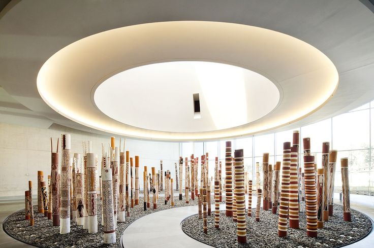 NGA – South Entrance and Indigenous Australian Galleries #indigenousart #australia #artspace #interiors #lookup #geometry #archidaily #archilovers #architecture #interiorarchitecture #ptwarchitects