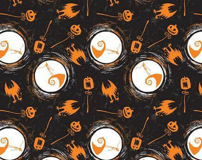 Nightmare Before Christmas, On the Hill Orange and Black  Jack Skellington cotton fabric by Camelot Fabrics