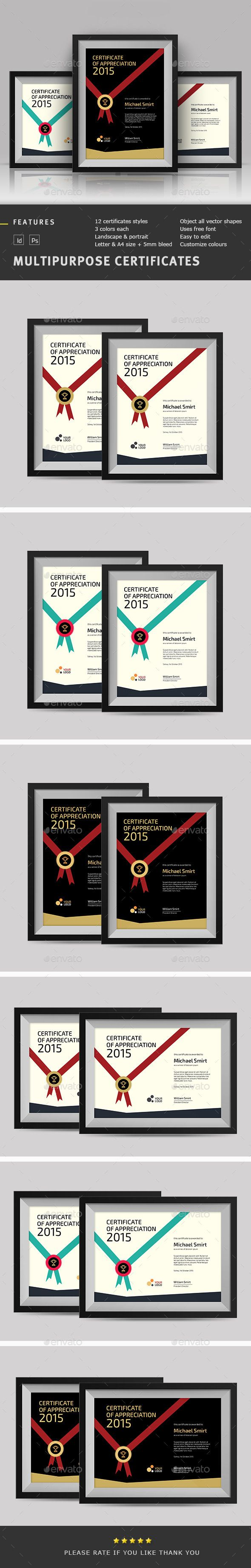 Multipurpose Certificates Template PSD, INDD. Download here: http://graphicriver.net/item/multipurpose-certificates/11664978?ref=ksioks
