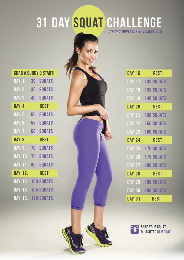 31 Days Squat Challenge - A 31-Day fun challenge to encourage you to get low and tone that beautiful body of yours. How it works is easy as pie: click through the image to go to the online tracker, sign in and every day, enter how many squat you did according to the challenge image chart. Grab your friends, your favorite song, your perfect booty pic, and pretty much everything else you can grab to find the right motivation to make this happen! Simple enough? Good! now Go!