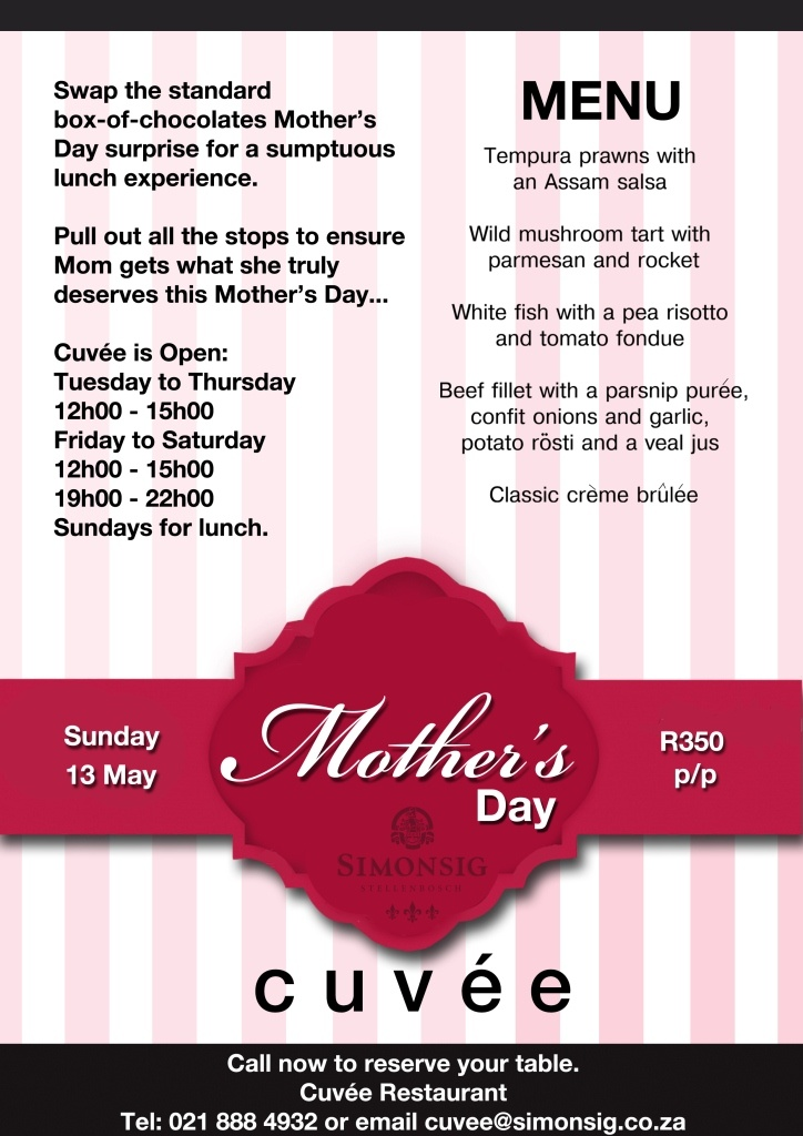Mission: Design a flyer that communicates Simonsig's restaurant special for Mother's Day 2012 on all social and online platforms.