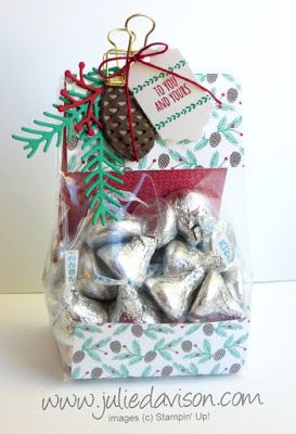 """The holiday season is a time of gift-giving. Here's a simple treat bag you could make up in a snap. Substitute any designer paper and use this same idea of any occasion! I used a 2-3/4"""" x 9"""" piece of"""