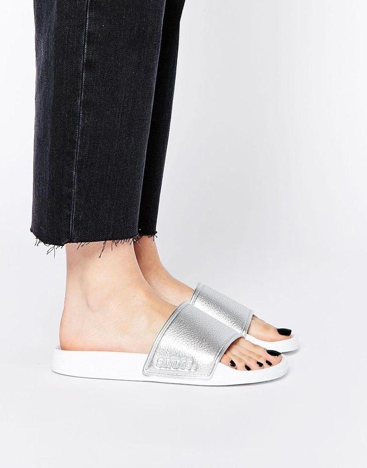Slydes | Slydes Kitsilano Silver Textured Slider Flat Sandals at ASOS