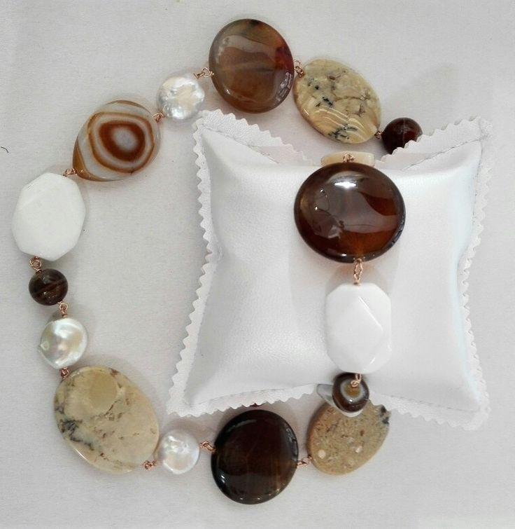 Etra Gioielli. Collana in argento agate, perle d'acqua dolce e opale africano