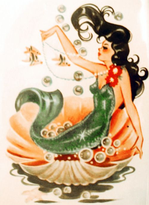 A mermaid wearing a full tail