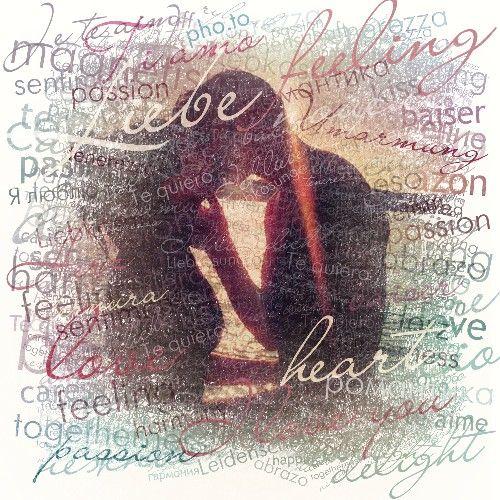 Fotomontaje palabras de amor