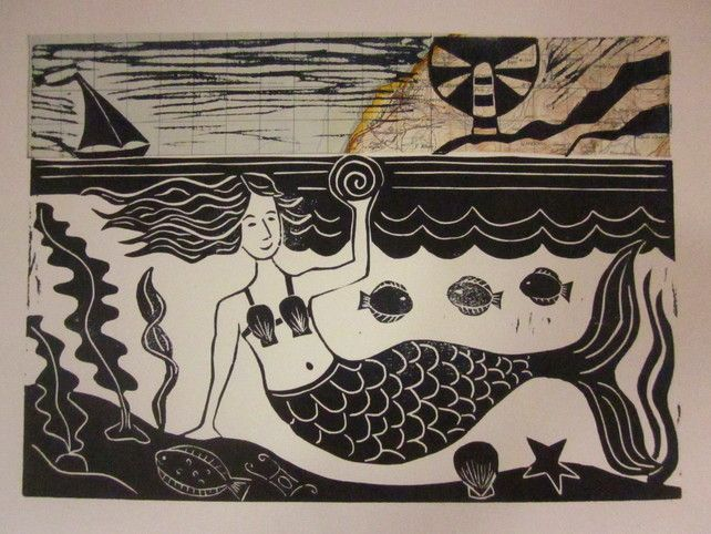 'The Mermaid and the Sea' lino cut print £30.00