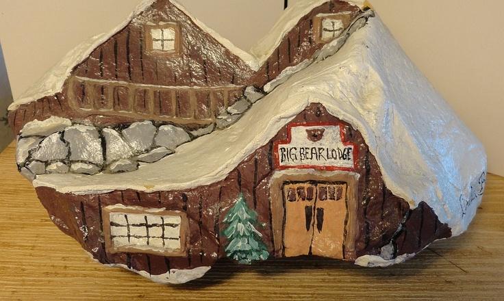 Big Bear Lodge - Rock Painting. $15.00, via Etsy.