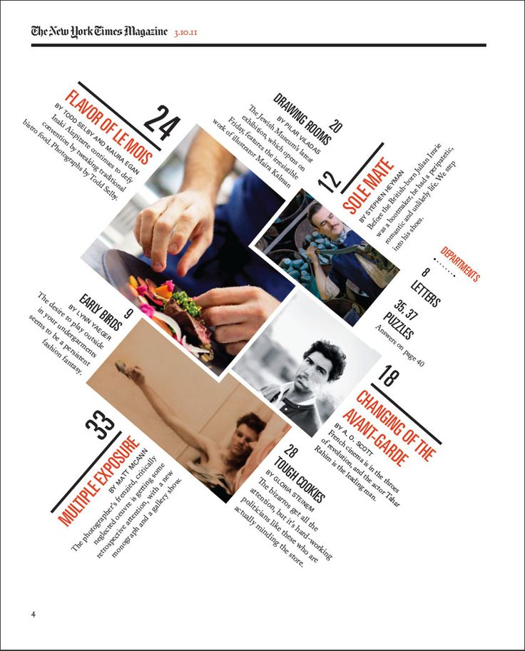 A redesigned New York Times Magazine Table of contents, made as a school project, Hallie Bean