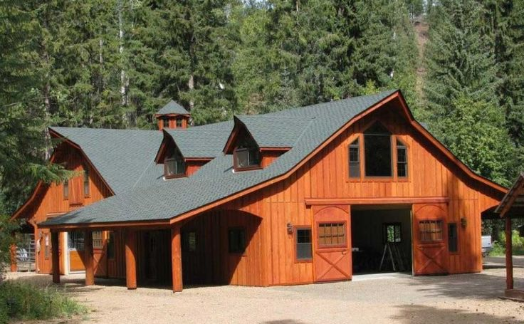 Beautiful log barn ranch ideas pinterest barn logs for Pole barn cabin ideas