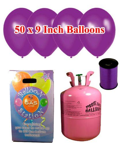 From 30.01 Disposable Helium Gas Cylinder With 50 Deep Purple Balloons And Curling Ribbon Included