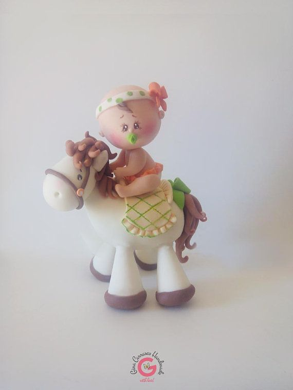 Cowgirl cake topper baby shower cake by GinaCarrascoHandmade