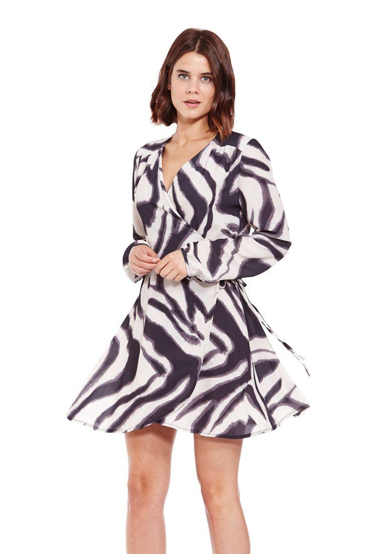 Zebra Print Short Wrap Dress | Liquorish - Fahionhub Short Dresses. Short wrap dress, wrap dress, long sleeve short dress,  R1245.00  http://fashionhub.co.za/zebra-print-wrap-dress-by-liquorish.html