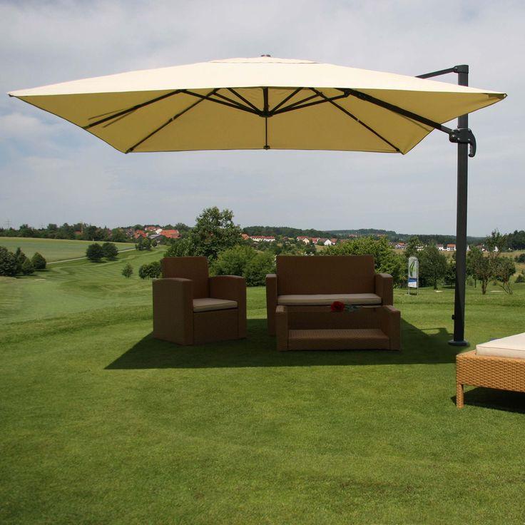 Alu Gastronomie-Luxus-Ampelschirm 3,5x3,5m Haus / Garten Sonnenschirme und Ständer Ampelschirme