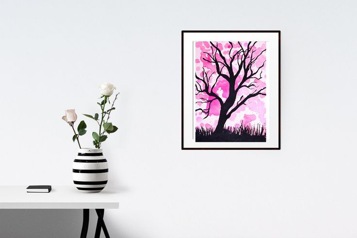 Original abstract landscape tree painting, wall art, A4 size, acrylic paint, black, pink, watercolour paper by Traceyleeartdesigns on Etsy