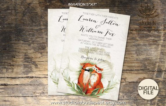 Fox wedding invitation set Woodland invitation by StudioInBudapest