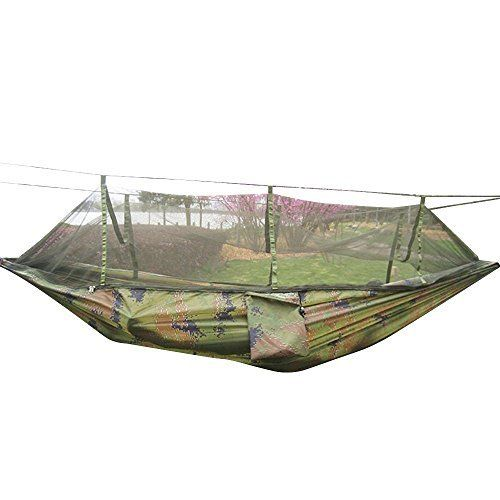 Camping Hammock with Mosquito Net, Parachute Nylon Fabric, for Outdoor Travel, Hiking, Backpacking, Backyard -- Remarkable outdoor item available now. : Camping gear