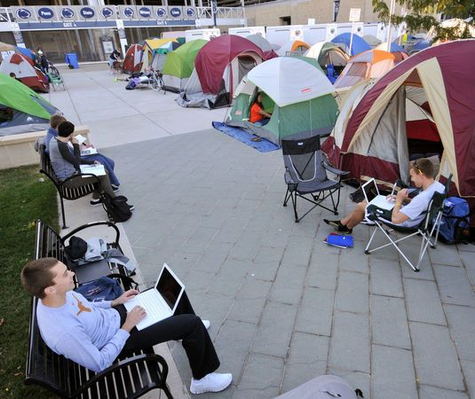 PENN STATE – STUDENT LIFE – Students and residents of Nittanyville camp outside of Gate A at Beaver Stadium in order to get good seats in the student section for Penn State's homecoming game against Michigan this Saturday.