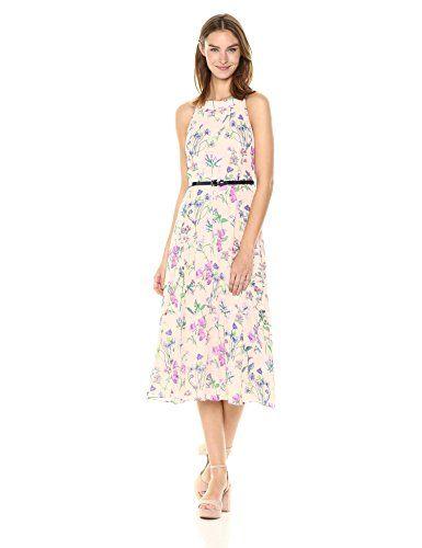 868c05c277f Tommy Hilfiger Women's Coin Toss Chiffon Long Dress, Powder Multi, 4 ...
