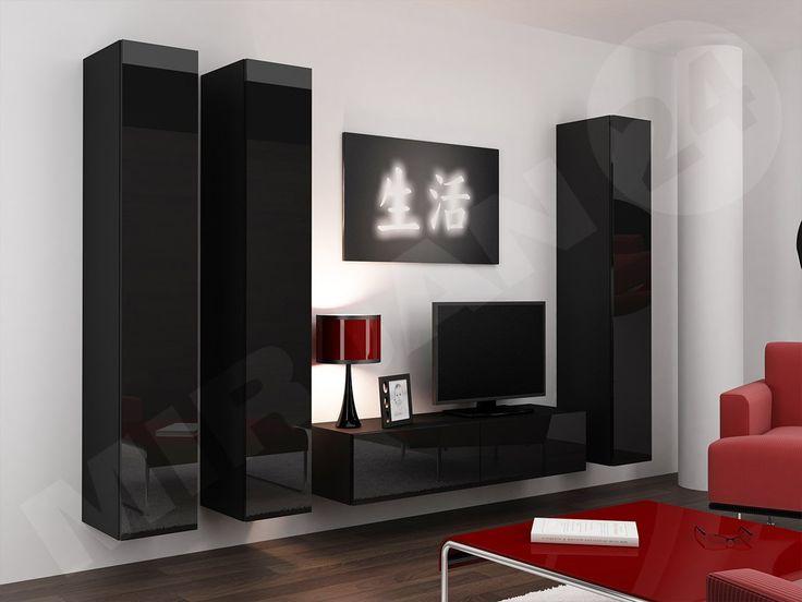 Meble w czarnym połysku to hit 2017 roku!  #salon #pokój #meble  #meblościanka