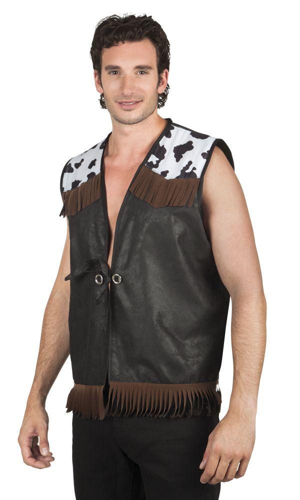 Chaqueta vaquero negro hombre: Esta chaqueta para hombre es de poliéster con efecto terciopelo.Este chaleco sin mangas es negro. Tiene reflejos de efecto cuero. Los hombros tienen partes con estampado de piel de vaca y...