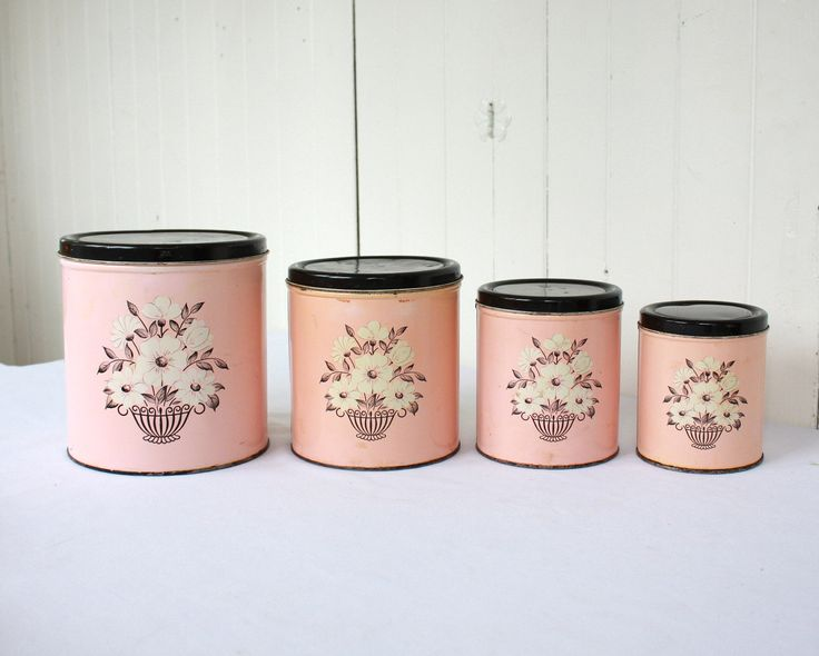 Vintage Pink Canisters, Pink Kitchen, Retro Kitchen, Retro Canisters, Canister  Set,