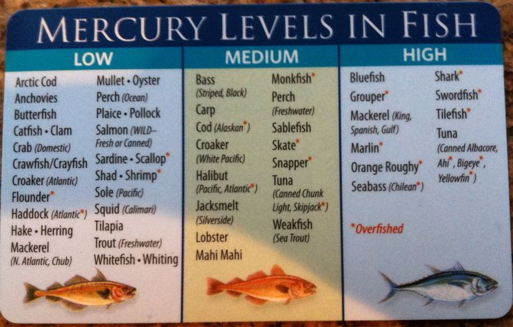 low mercury fish | Low Mercury Levels (consume once or twice a week, at most):