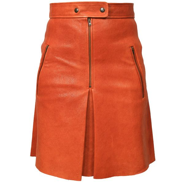 ISABEL MARANT Jilly Leather Skirt Burnt Henna ($1,185) ❤ liked on Polyvore featuring skirts, stretch leather skirt, leather skirt, leather zipper skirt, mid length skirts and isabel marant skirt