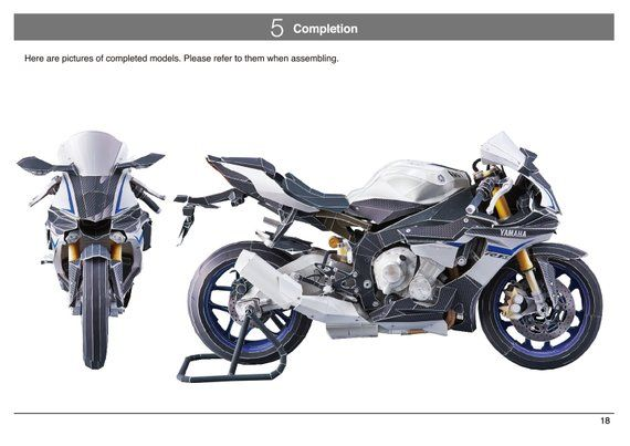 Paper model kit, Yamaha YZF-R1 2015 ,Papercraft 3D paper
