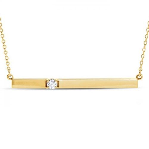 Horizontal Bar Necklace With Diamond Accent 14k Yellow Gold 0 10ct Horizontal Bar Necklace Bar Necklace Engraved Bar Necklace