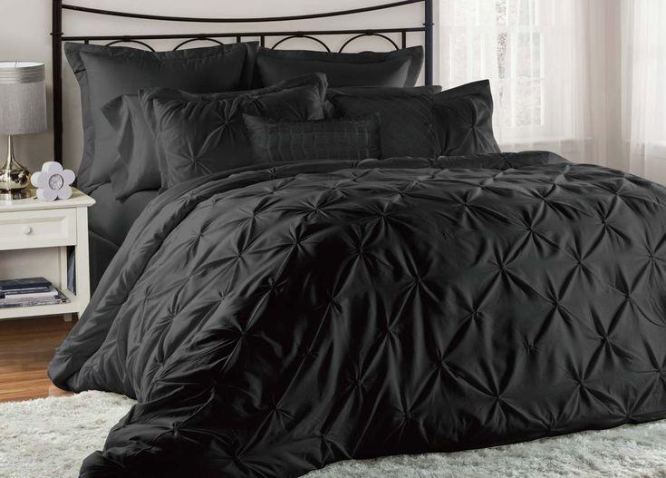 8 Piece Cal King Lucilla Black Comforter Set
