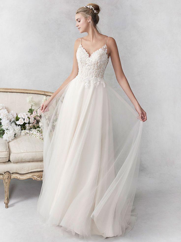 Lace Ballgown with Floral Applique - Martina Liana Wedding
