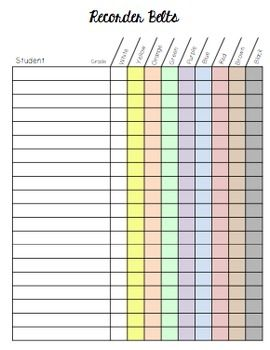 Recorder Belt Records Chart by Mrs Stouffer's Music Room | Teachers Pay Teachers