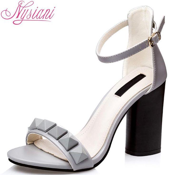Nysiani 2016 Женщины Открытым Носком Каблуки Сандалии Повседневная Обувь Мода Тонкие Высокие Толстые каблуках Твердые Летняя Обувь Сандалии