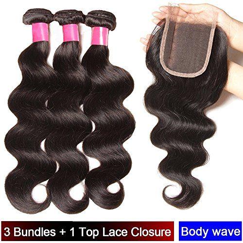 My-Lady® Tissage bresilien en lot – Extensions capillaires de cheveux humains vierges – 3 Trames + 1 Top Lace Closure- Ondulé/Body wave –…