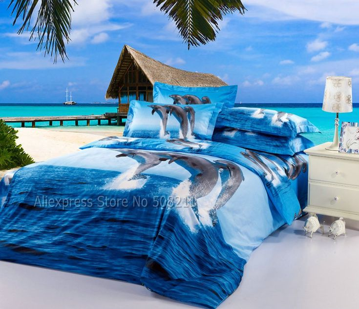 3D oil painting cute dolphin jump out of ocean blue cotton bedding duvet covers sets 4pcs for full/queen comforter quilt cover-in Bedding Sets from Home & Garden on Aliexpress.com