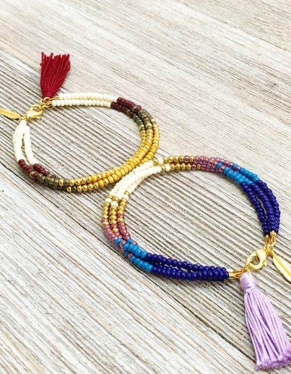 Boho Beaded Friendship Bracelet Seed bead tassel by LayeredAndLush
