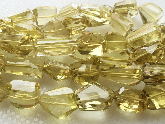 Lemon Quartz Beads Faceted Tumble Beads Step Cut by gemsforjewels