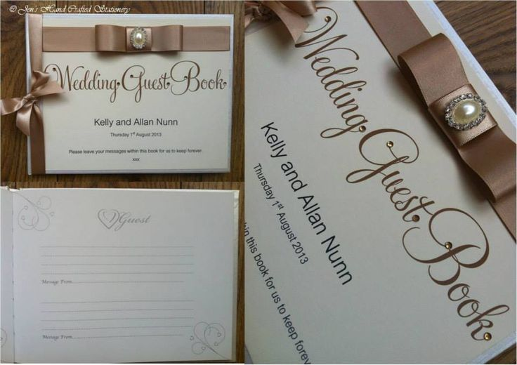 Champagne with diamanté and pearl embellishment Wedding Guest Book  www.jenshandcraftedstationery.co.uk www.facebook.com/jenshandcraftedstationery